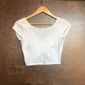 Cross back white crop top size small